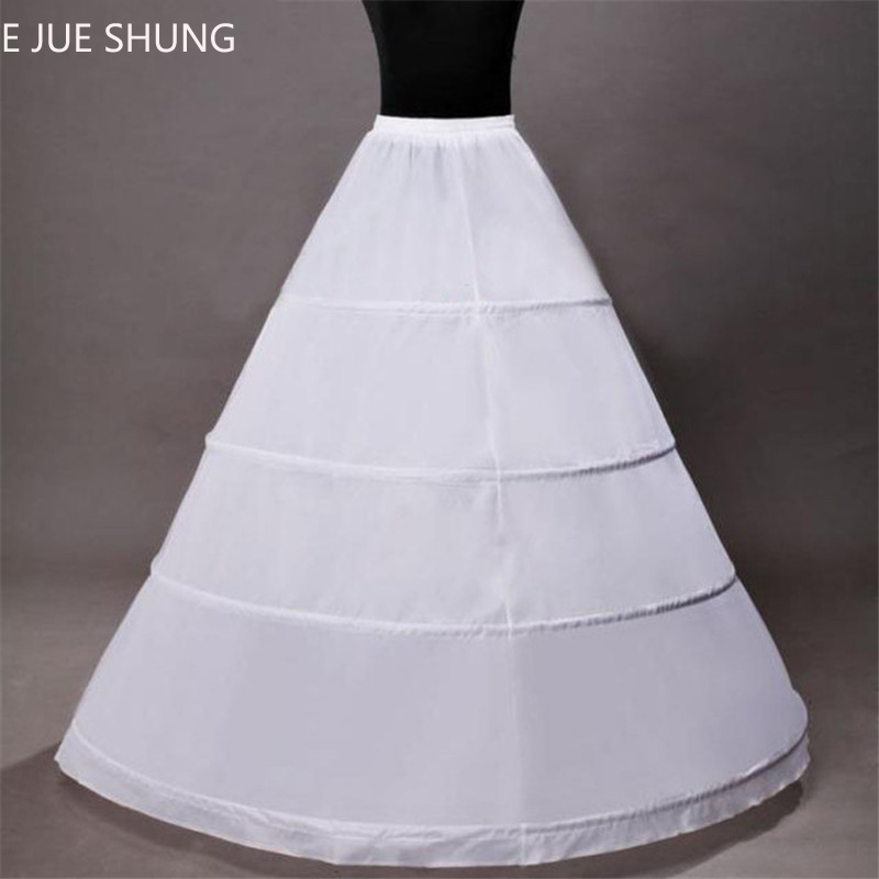 E JUE SHUNG Ball Gown Wedding Petticoat 4 Hoops Bridal Petticoats White Women Crinoline Underskirt For Wedding Dresses In Stock