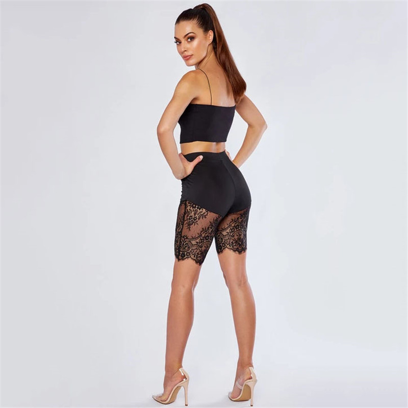 H7b46b01bebda425182c16de7cbdbb53cP - WUHE Lace Patchwork Sexy Spaghetti Strap Jumpsuits Women Off Shoulder Sleeveless Elegant Bodycon Bandage Party Short Playsuits