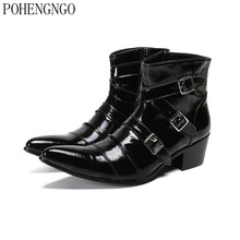 2020 spring Men Dress Boots Genuine leather High Heel Boots Black Pointed Toe Ankle Boots Large Size mens Formal Party Shoes women black leather knitted top high heel ankle boots slip on bandage thin heel short boots elegant boots formal dress shoes