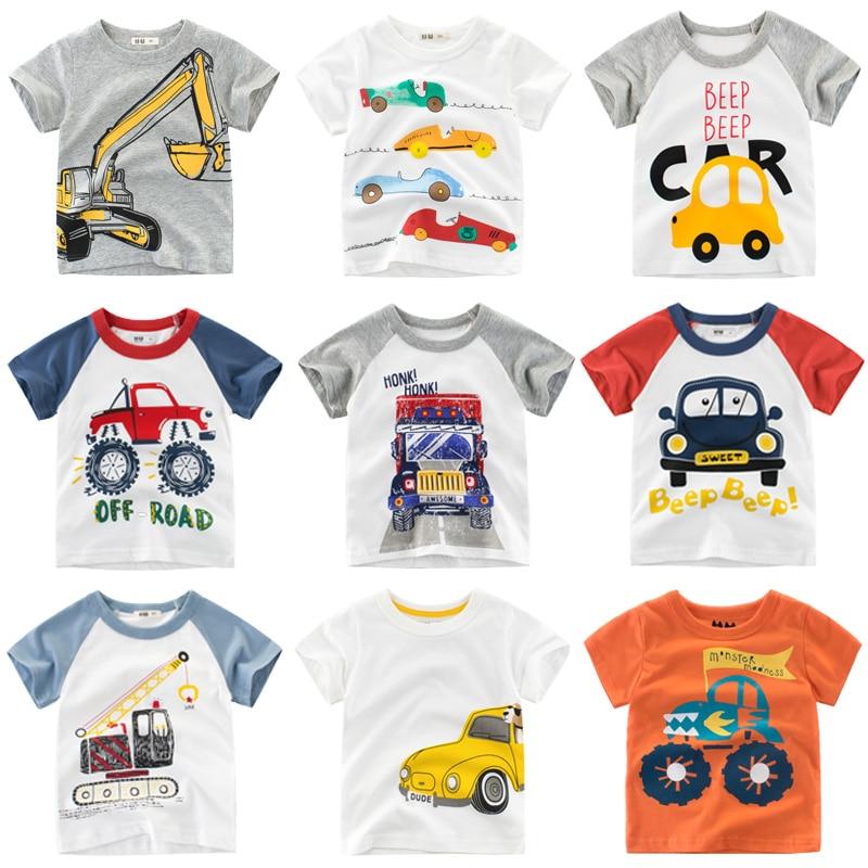 Boys & Girls Cartoon T-shirts Children Summer Short Sleeve T-shirt Tops 100% Cotton Clothing Kids Cartoon Truck T Shirt For Boys