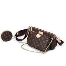 Saco de ombro de impressão do vintage marca de moda 3-em-1 sacos de mensageiro para as mulheres de couro do plutônio crossbody saco senhora pequena bolsa