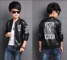 2020 Herfst Kinderkleding Jongens Jassen Letters Lange Mouw Pu Leather Boy Jassen Voor Jongens Grote Kinderen Outerwears Jassen