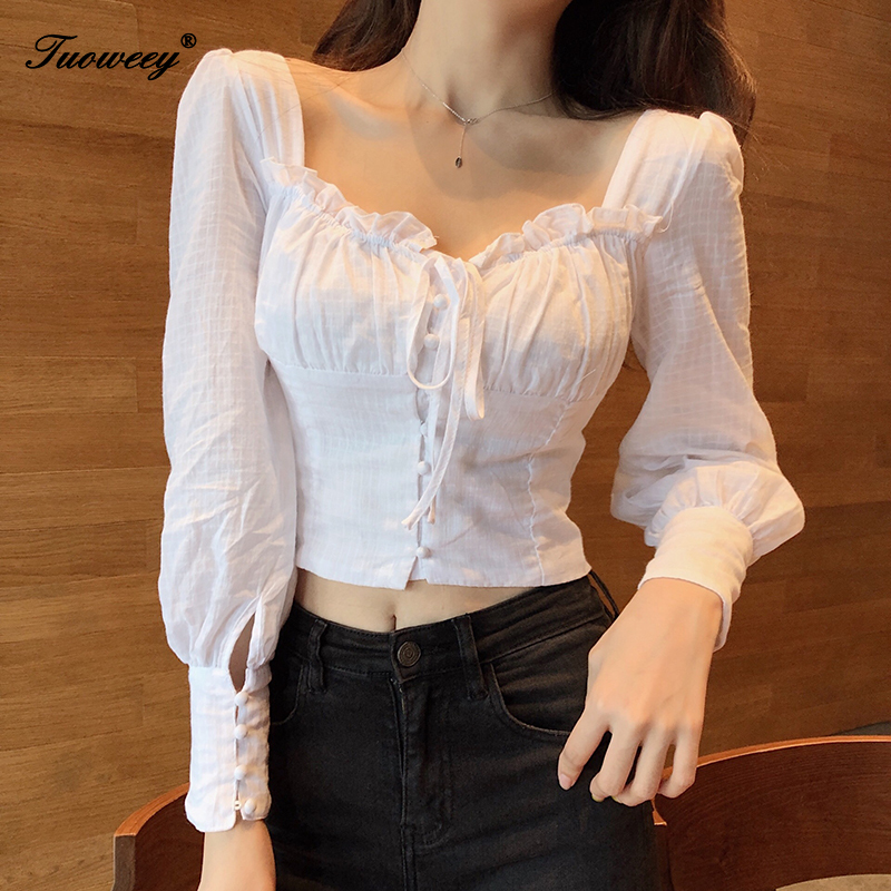 Fashion Woman White Sexy Blouses 2019 Autumn New Elegant Shirt Female Long Sleeve Solid Color Shirts Women Tops And Blouses