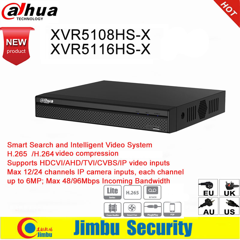 Dahua XVR XVR5108HS-X XVR5116HS-X 8ch 16ch Up To 6MP  H.265 H.264 Smart Search  Penta-brid 1080P IVS Digital Video Recorder DVR