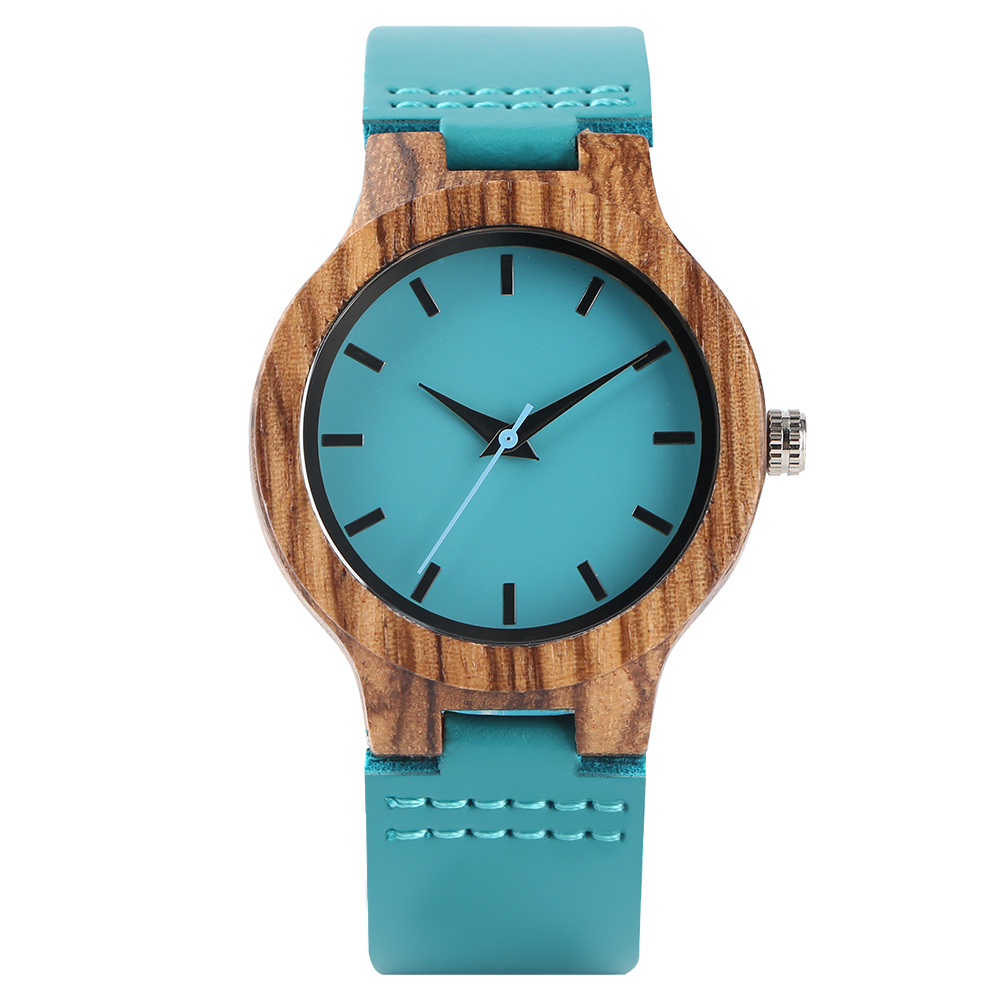 Women Quartz Wooden Watches Blue Genuine Leather Modern Minimalist Wooden Bamboo Ladies Watch Casual Clock Top Gifts