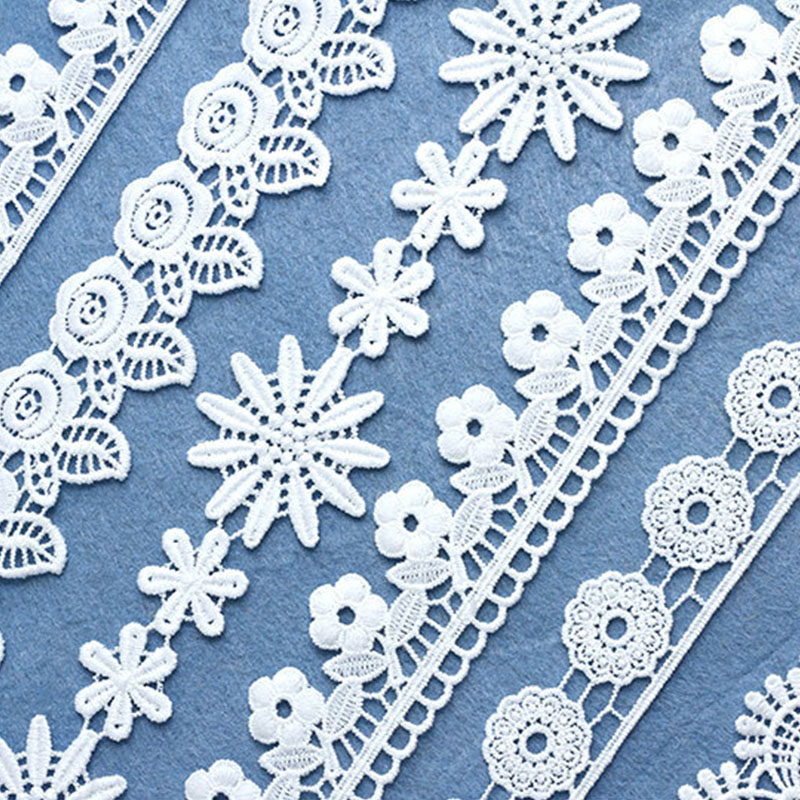 7Yard/lot White Daisy Lace Ribbon Handicrafts Embroidered Lace Trim Fabric Ribbon DIY Sewing Skirt Accessories Ribbon Ornaments