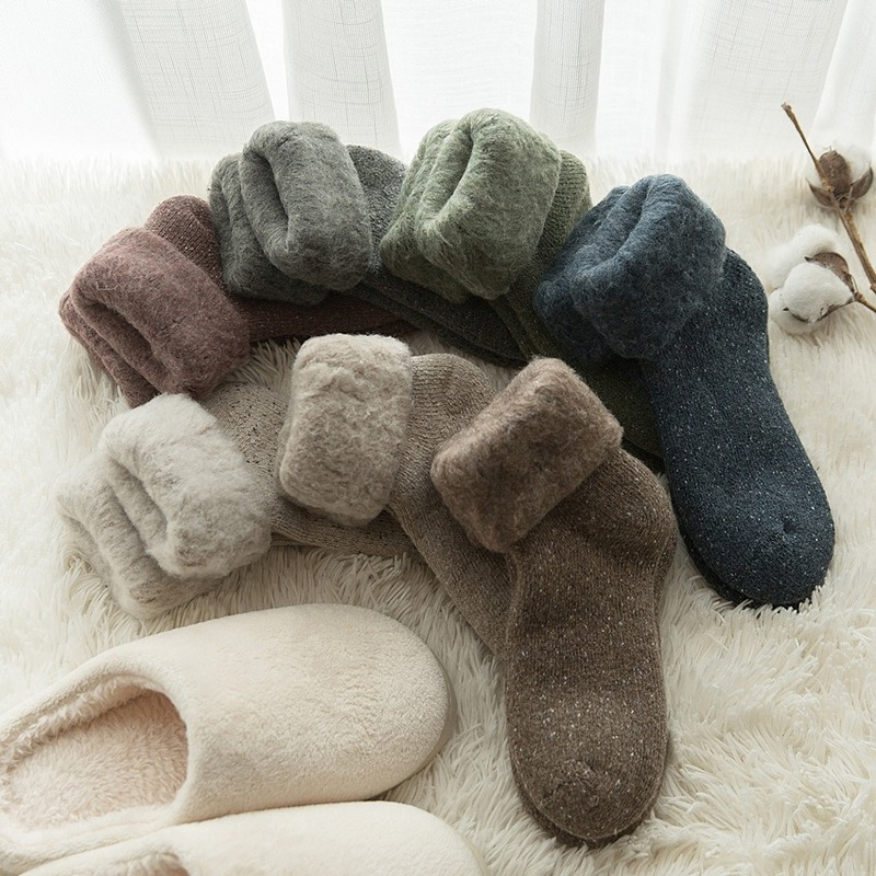 NEW Thicken Winter Warm Wool Socks Women Japanese Style Solid Color Towel  Christmas Socks For Ladies 102402