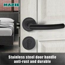 LH1007 Black Color MARIE Interior Stainless Steel Door Handle Bedroom Door Lock Bathroom Split Door Knob Household Accessories