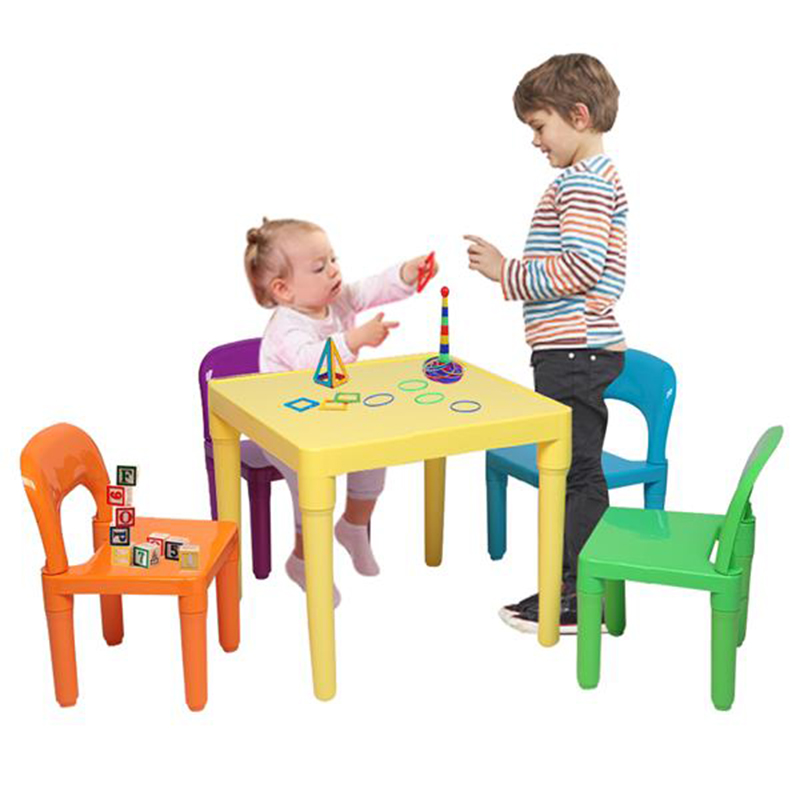 Colorful Kids Table And Chairs Set  (One Desk And Four Chairs ) Little Kid Children Furniture Children's Dining Desk Toy Desk