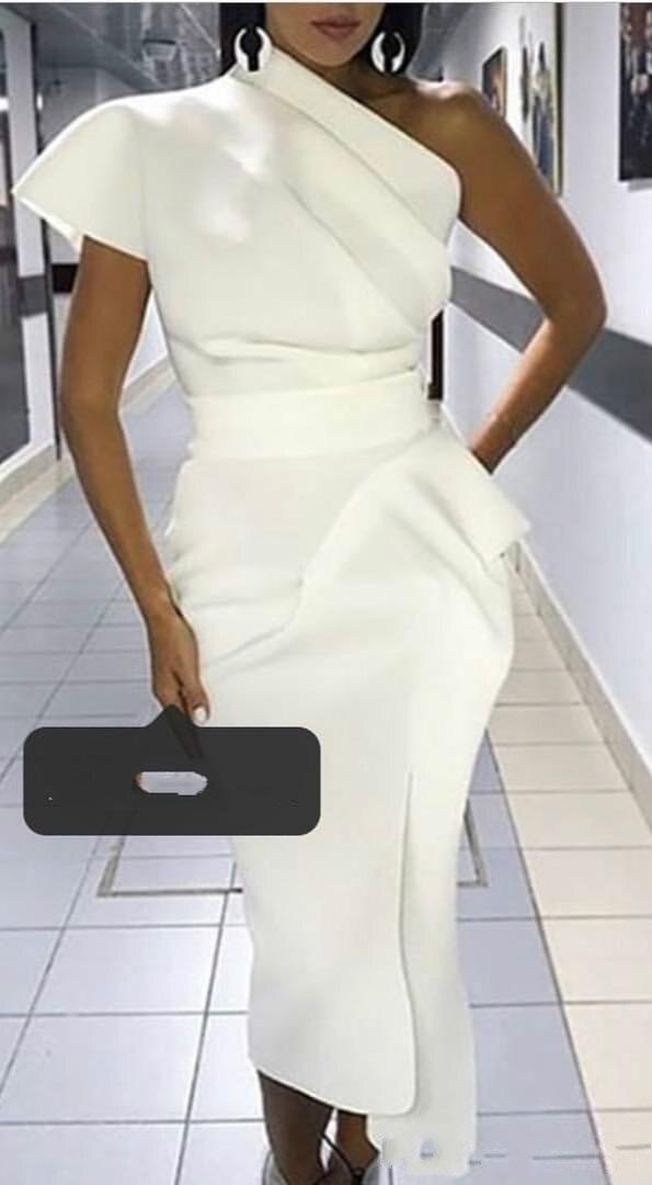 Sexy Cheap African Sheath Cocktail Party Dresses One Shoulder Pleats Satin Short Prom Dresses Formal Dress robes de soirée