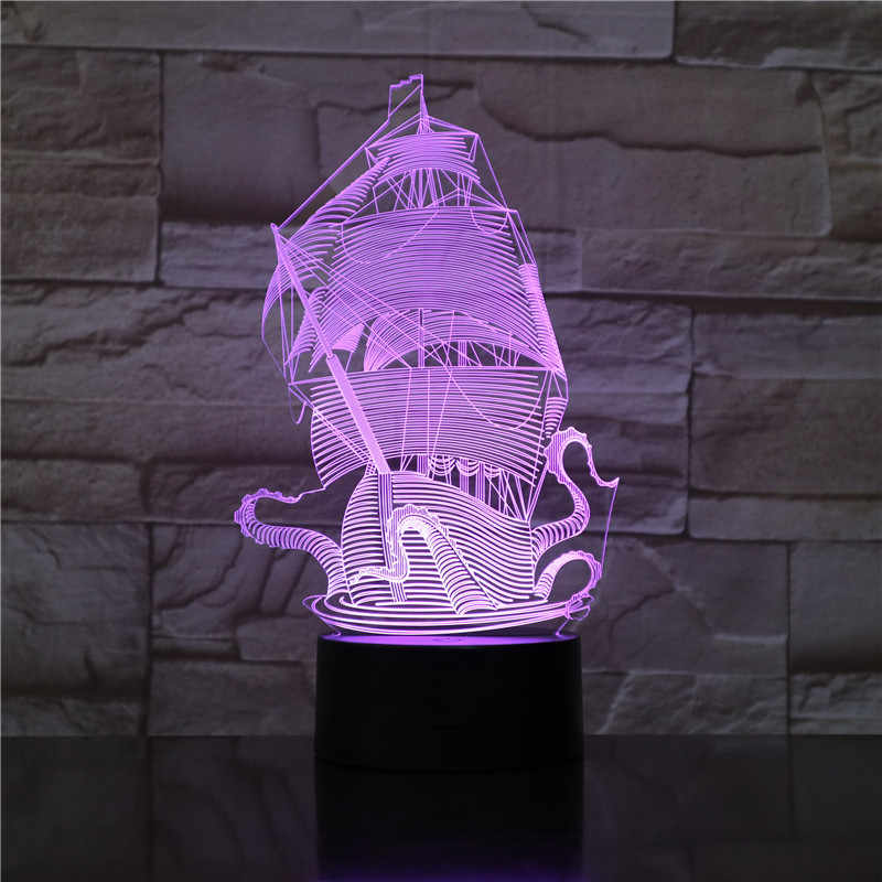ثلاثية الأبعاد مصباح المراكب الشراعية قراصنة الكاريبي دروبشيب أفضل الحاضر Teenager لغرفة النوم الديكور البصرية Led ضوء الليل مصباح