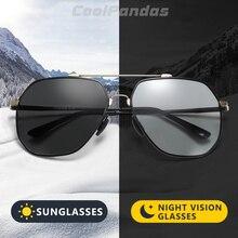 CoolPandas lunettes De soleil polarisées photochromiques pour hommes, mémoire en métal, hexagone rétro, monture pour la conduite, UV400 Gafas De Sol, 2020