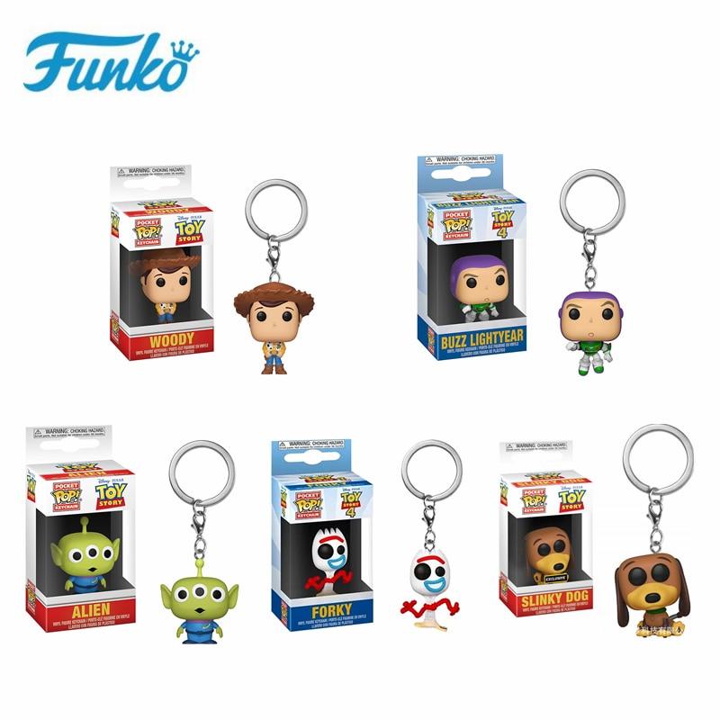 Funko Pop Toy Story Woody Alien Buzz Lightyear Keychain Pocket Pop Slinky Dog Forky Key Rings Toys Vinyl Doll Key Chain Kid Gift