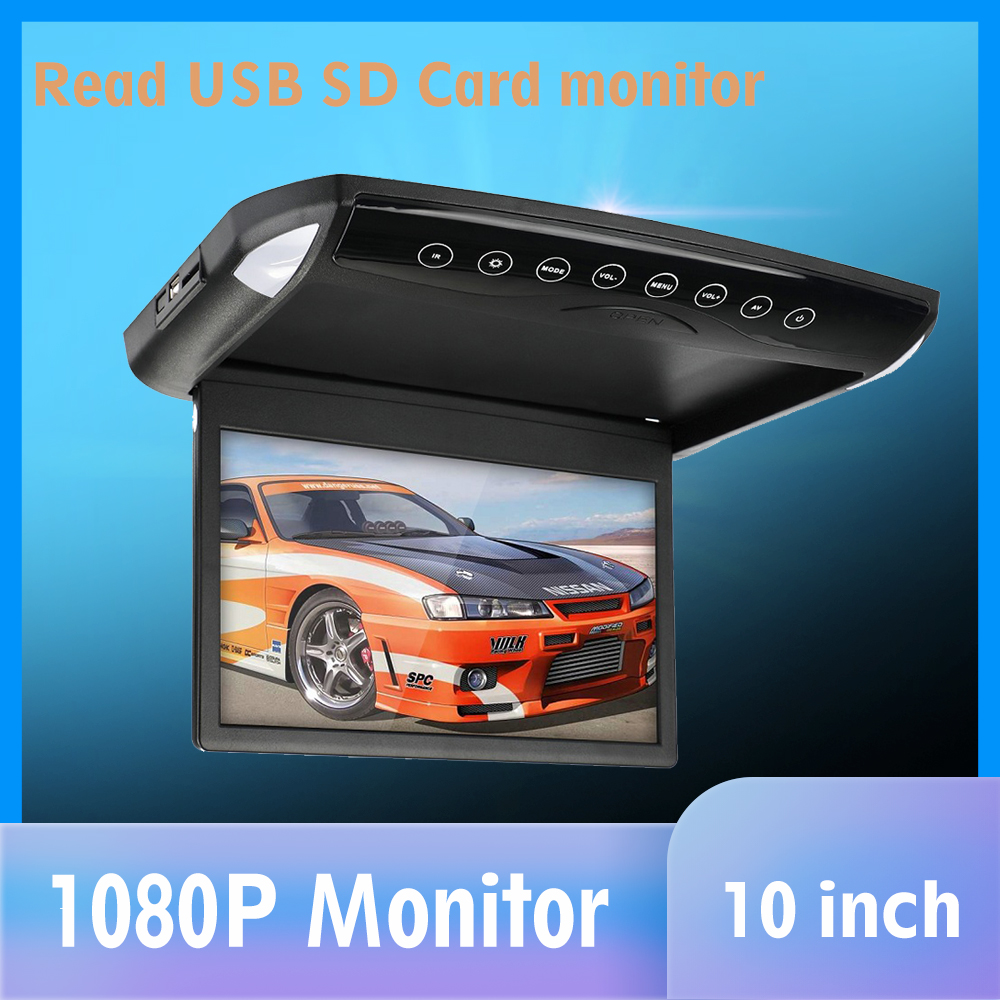 10.1/12.1 polegadas aleta para baixo monitor 1080p hd player fm ultra fino carro dvd player 2-way vídeo entrada telhado do carro montado tft lcd monitor