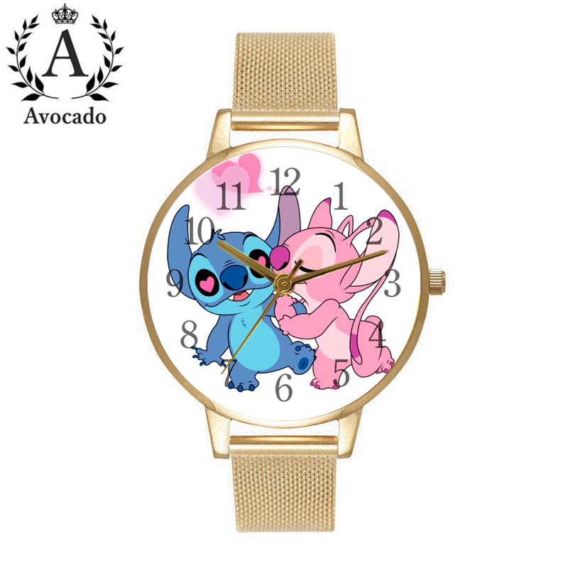 Lilo & Stitch Watches Gold Stainless Steel Women's Watch Fashion Casual Ladies Kids Children Quartz Wristwatch Cartoon Clock