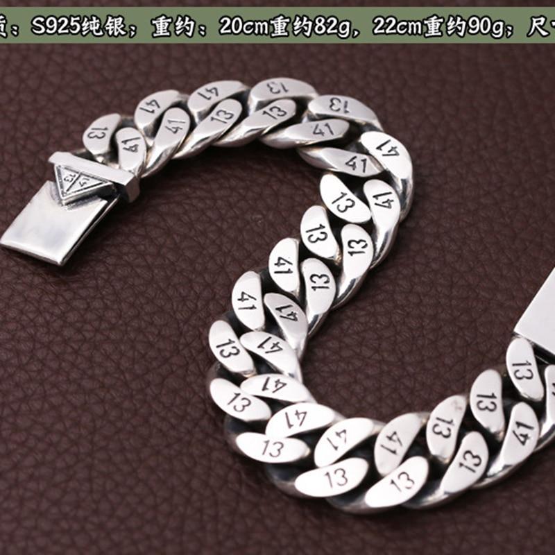 Мужской браслет из чистого 925 пробы серебра, Ширина 16 мм, треугольная розетка с замком, полированная цепочка, мужской Байкерский серебряный браслет 1314 - 5