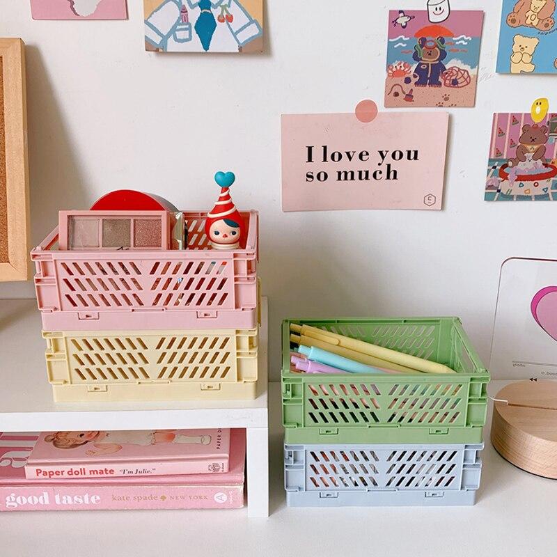 Mini Folding Plastic Storage Box Basket Foldable Plastic Storage Case Desktop Carrying Basket