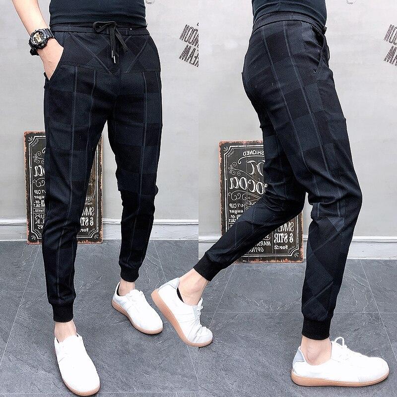 2019 Autum Mens Joggers Pants Hip Pop Casual Pencil Pant Sweatpants Trousers Streetwear Plaid Black Casual Harem Pants Plus Size