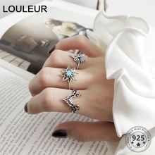 LouLeur 925 plata esterlina ópalo Palacio anillos vintage plata original exquisitos anillos abiertos para las mujeres festival joyería regalo