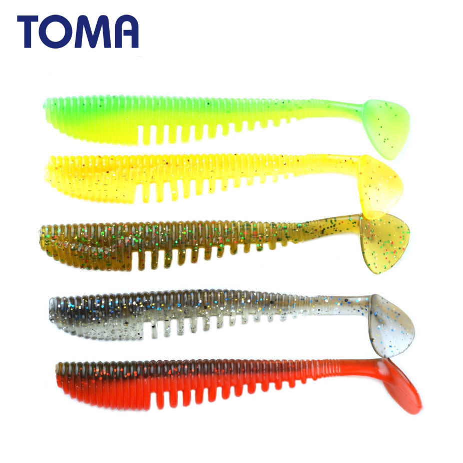 TOMA Fishing Lure Soft Bait Silicone 8pcs/lot 95mm 5.2g Soft Worm Swimbait Double Color isca artificial Fishing Tackle