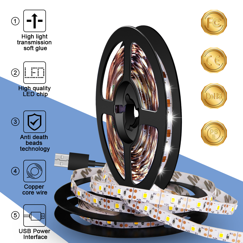 EU Plug Charger US Adapter USB Power Supply Cable Led Strip Light  Waterproof Lamp 220V Tape Led Ribbon DC 5V Light Strip Fita