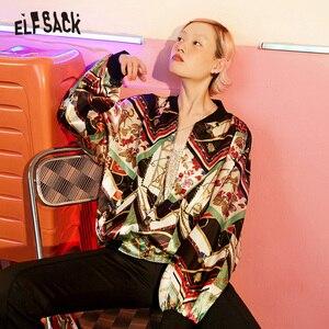 Image 3 - ELFSACK Vintage Multi Print damskie płaszcze, 2019 jesień Streetwear Casual Korea luźne kurtki damskie New Fashion Woman najlepsze ubrania