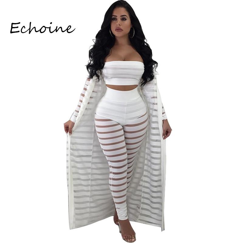 2020 Women 3 Pieces Set Lace Hollow Out Long Cloak + Crop Top + Pants Tracksuit Women Summer Clothes For Women White Black Red