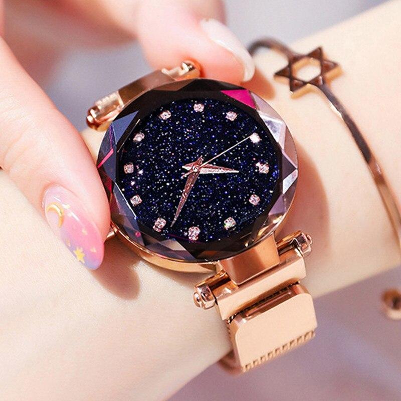 Luxury Women Watch Noble Starry Sky Elegant Magnet Reloj Crystal Ladies Stainless Steel Quartz Mujer Wristwatch Female Relogio