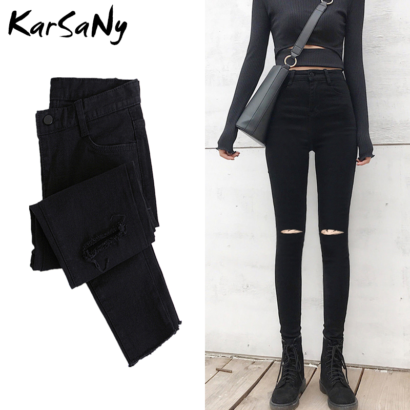 Skinny Ripped Jeans For Women 2020 Stretch High Waist Black Jeans With Holes Destroyed Women Denim Pants With Holes Summer Jean