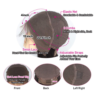 Image 4 - Frontal Wig Human Hair Wigs Straight Pre Plucked 4*4 13*4 Lace Unprocessed Remy Hair Brazilian Hair Lace For Women 150density