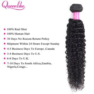 Image 2 - Queenlike mèches malaisiennes non remy naturelles, cheveux frisés bouclés, pre plucked, 13x4, trame avec Frontal