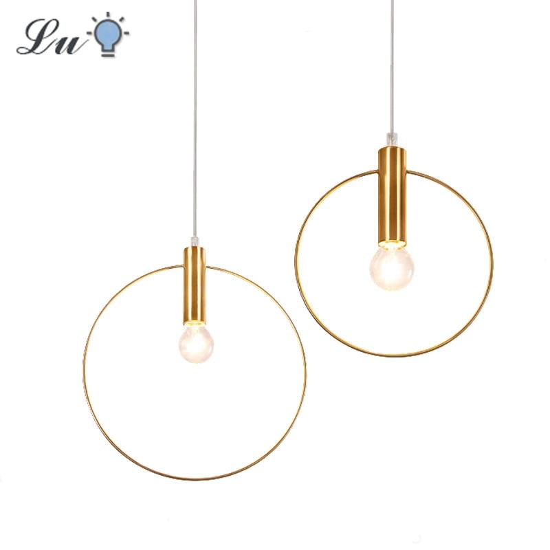 Round Gold Pendant Lights LED Home Decoration Hanging Lamp Bedroom Bedside Lamps 90-260v Living Room Restaurant Indoor Lighting