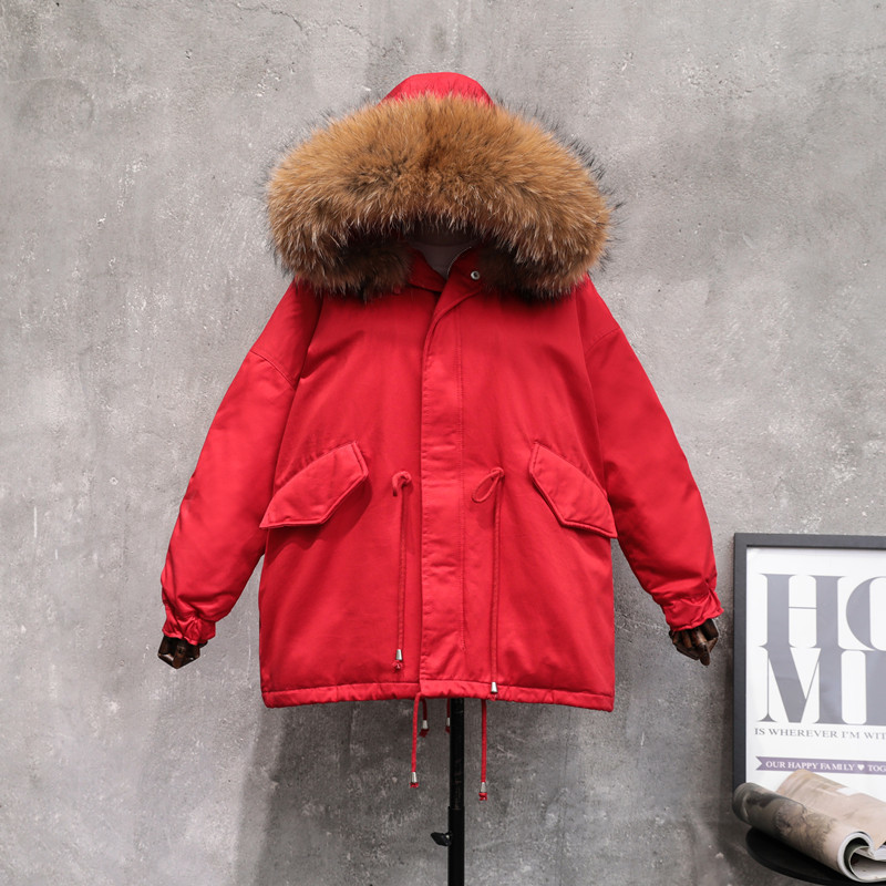 Women Large Natural Raccoon Fur Winter White Duck Down Parka Warm Thick Down Jacket Female Loose Sash Tie Up Outwear