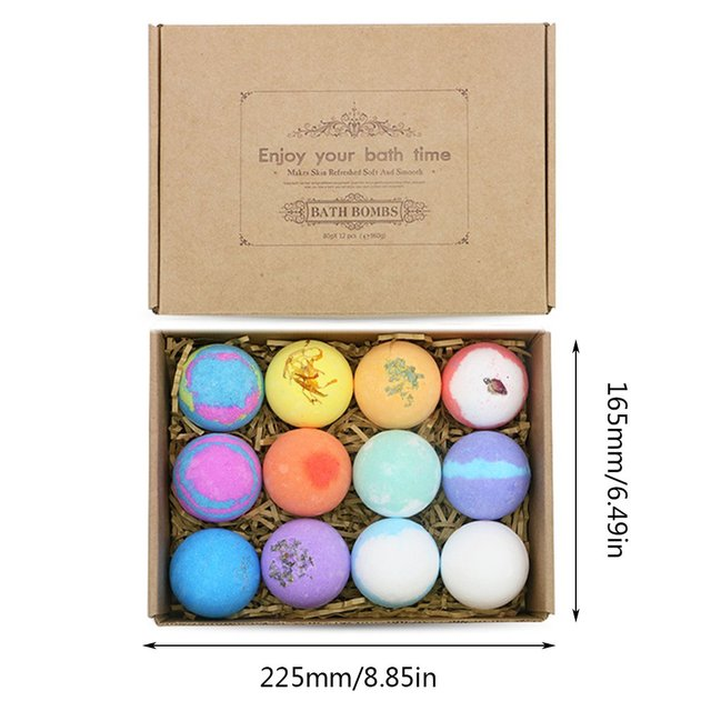 Oil Bath Essential Monochrome Ball Gift Box With Aromatherapy Essential Oil Explosion Ball Milk Bath Salt Ball