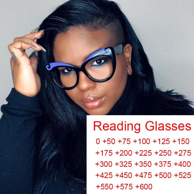 Gafas de lectura de Ojos de gato para mujer, dioptrías de 0 a + 6,0 graduadas para hipermetropía, de marca, Vintage