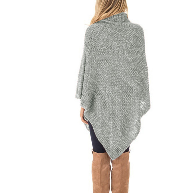 Women's Knitted High-neck Buttons Irregular Hem Pullover Sweaters Bottom Wear Loose Sweaters Warm And Comfortable 6