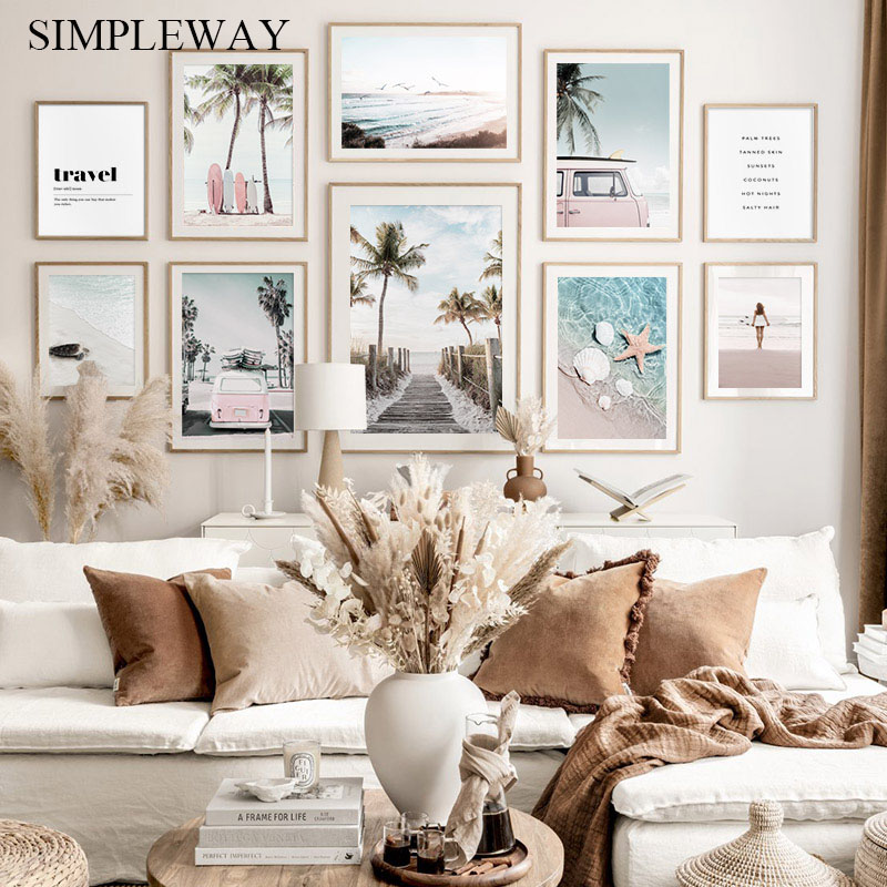 Sunny Beach Vehicle Surfboard Landscape Canvas Painting Palm Seaside Poster Art Print Decorative Wall Picture Home Decoration