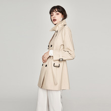 Windbreaker Women Clothing Medium and Long 2019 New Autumn Short Coat Turn-down Collar Double Breasted Women Coat  Clothes цена
