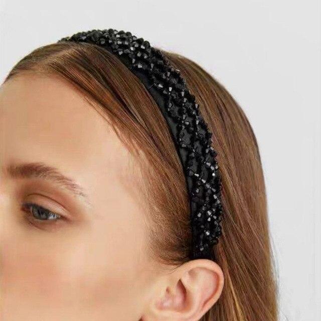 2019 Winter New Za Headband Handmade Crystal Beads Women Head Hoops Women Headwear Accessories Free Dropshipping