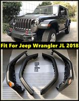 4 PCS Car Wheel Eyebrow Mud Fender Cover Mudguards With LED Signal Lights For Jeep Wrangler JL 2018