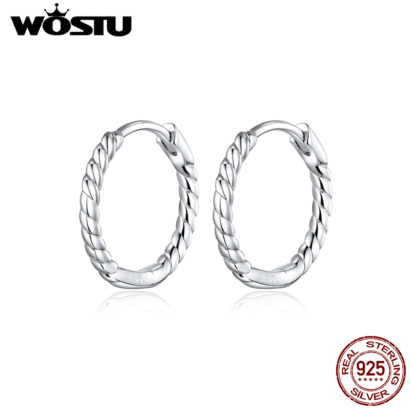 WOSTU Genuine 925 Sterling Silver Circle Hoop Earrings Weaving Geometry OL Style Big Earrings For Women Unique Jewelry CQE841