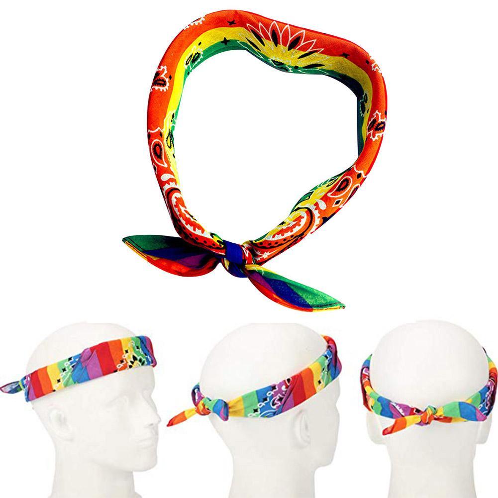 Arc-en-bandana Gay Pride Accessoires Hip-hop Wristband Cravate Coton Foulard Carr/é Pour Les Femmes Hommes
