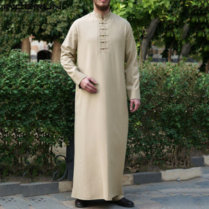 Men Jubba Thobe Solid Vintage Long Sleeve Middle East Robes Button Stand Collar Dubai Thobe Islamic Arabic Kaftan INCERUN S-5XL