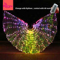 Ruoru Belly Dance Led Isis Wings with Remote Control Bellydance Carnaval Costume Egypt Angle Wings Costume Adult Wings Stick