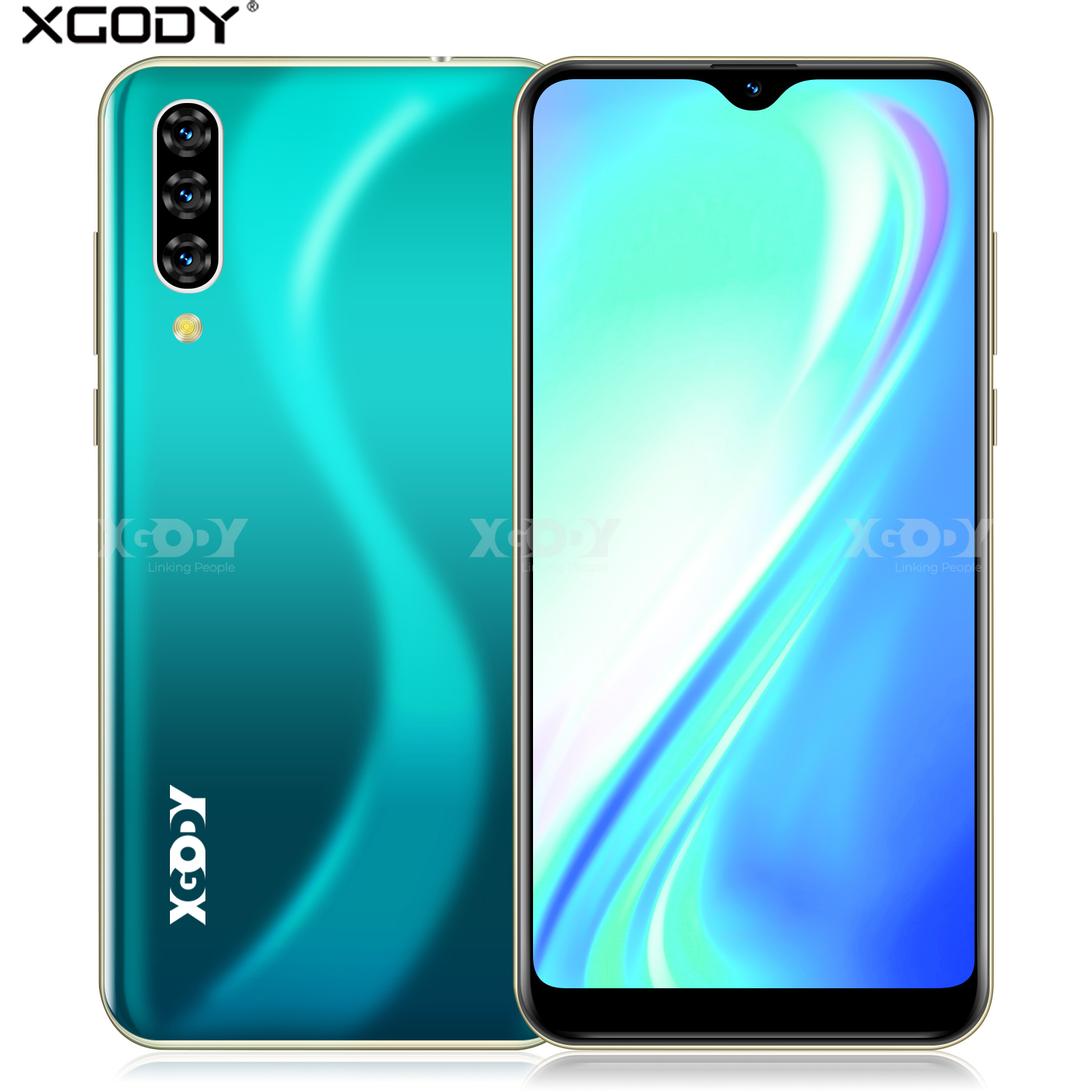 Xgody Note 7 2GB 16GB Smartphone 6.26'' Water Drop HD Screen MTK6580 Quad Core Android 9.0 Face Unlock 2800mAh 3G Mobile Phone