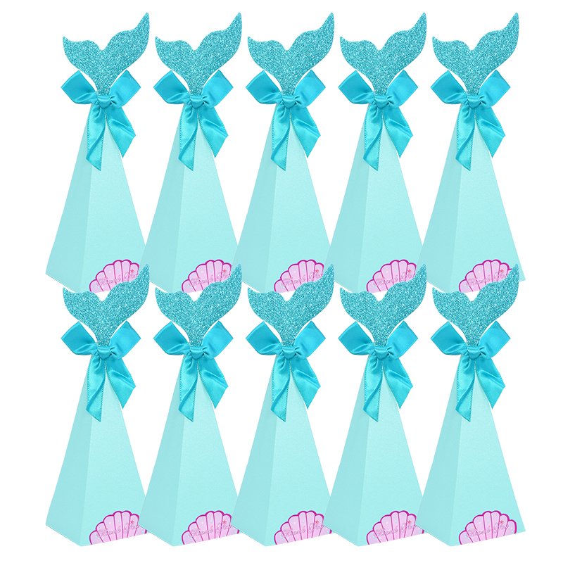 Beautiful Mermaid Theme Party Supplies Mermaid Tail Cookie Bags DIY Kids Favor Candy Boxes Popcorn Snacks Gift Bag Wedding Decor