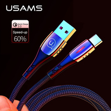 USAMS USB Type C Cable Smart Power off,QC3.0 fast charge cables LED cable smart charger for Samsung s10 8 Huawei P20