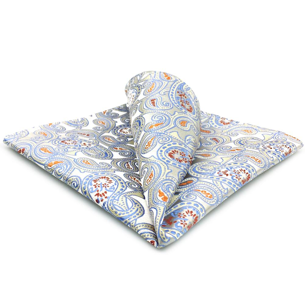 EH4 Silver Gray Paisley Silk Mens Pocket Square Classic Wedding Handkerchief