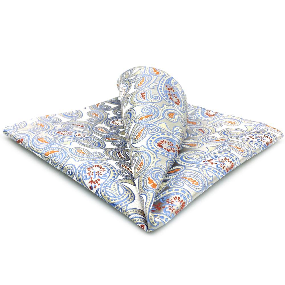 EH4 Silver Gray Paisley Silk Mens Pocket Square Classic Wedding Handkerchief