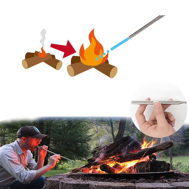 Portable Stove Fire Starter Outdoor Cooking Survival Blow Fire Tube Retractable Camping Blowpipe Fire Tube Emergency Tools